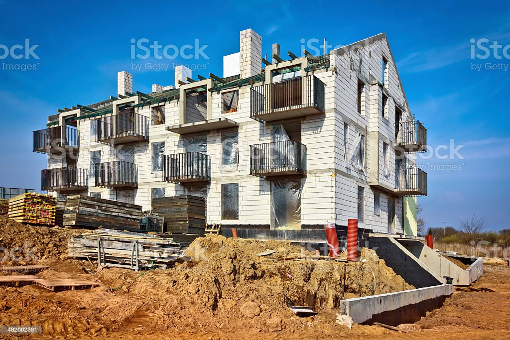 New apartment building under construction stock photo