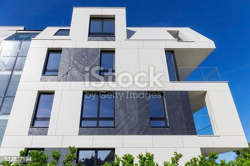 New apartment building with a modern white facade, Sopot, Poland