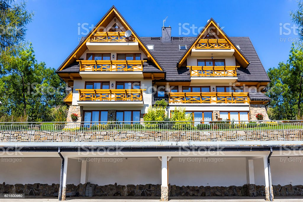 New apartment buildings in the regional style, Zakopane, Poland Lizenzfreies stock-foto