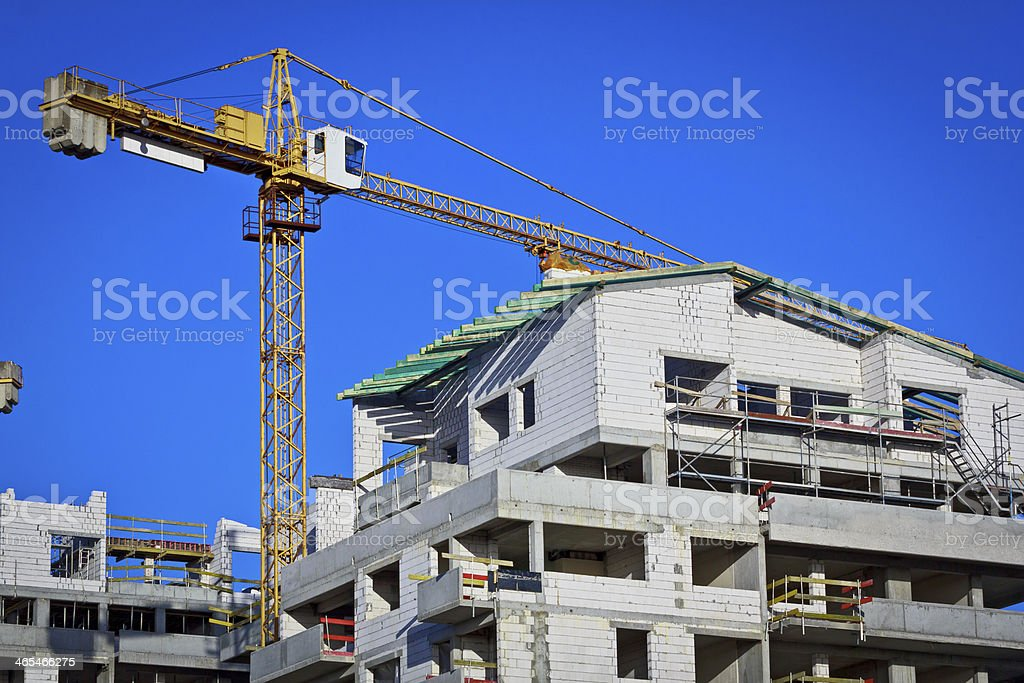 New apartment buildings under construction stock photo