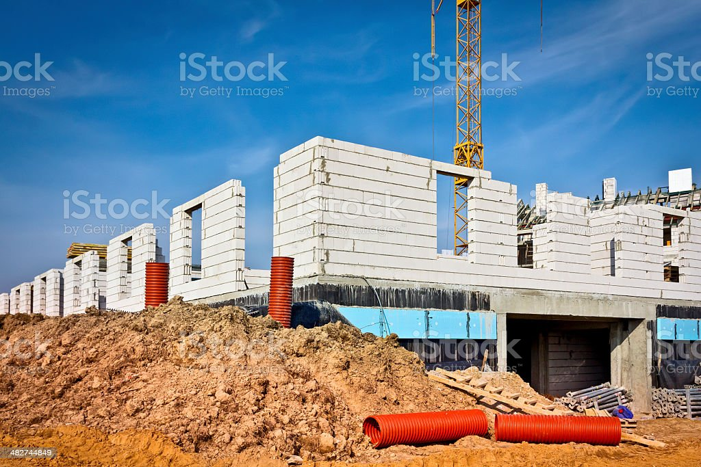 New apartment buildings under construction royalty-free stock photo