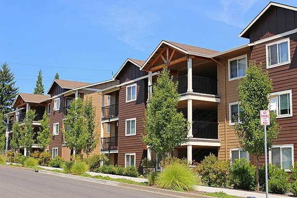 New apartment complex in suburban neighborhood stock photo