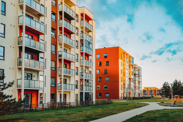 New apartment home residential building outdoor concept stock photo