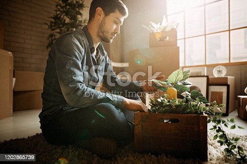 Men holding box with stuff for new apartment