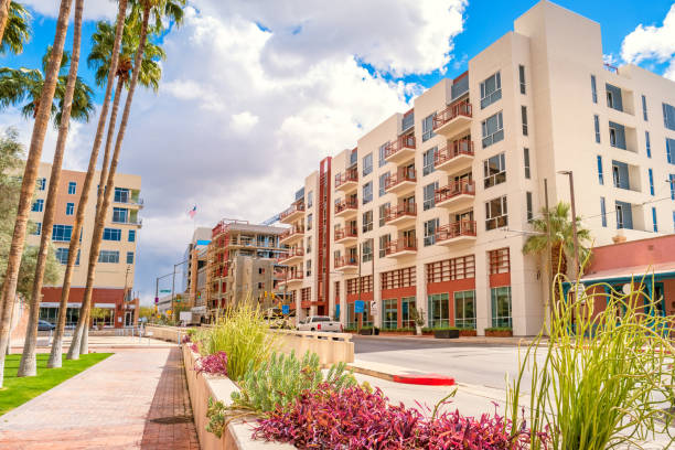 New apartments in downtown Tucson Arizona Stock photograph of new apartment buildings on Broadway boulevard in downtown Tucson Arizona USA. tucson stock pictures, royalty-free photos & images