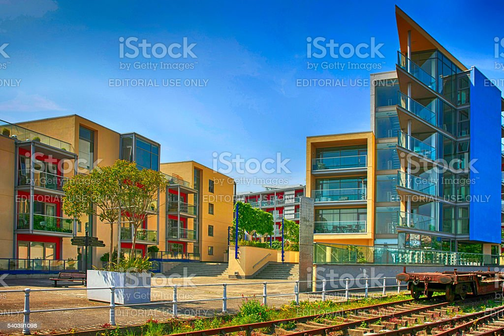 New Apartments In The Dockland Area Of Bristol, UK Stock Photo