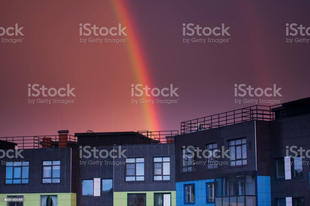 New appartment penthouse in night stock photo