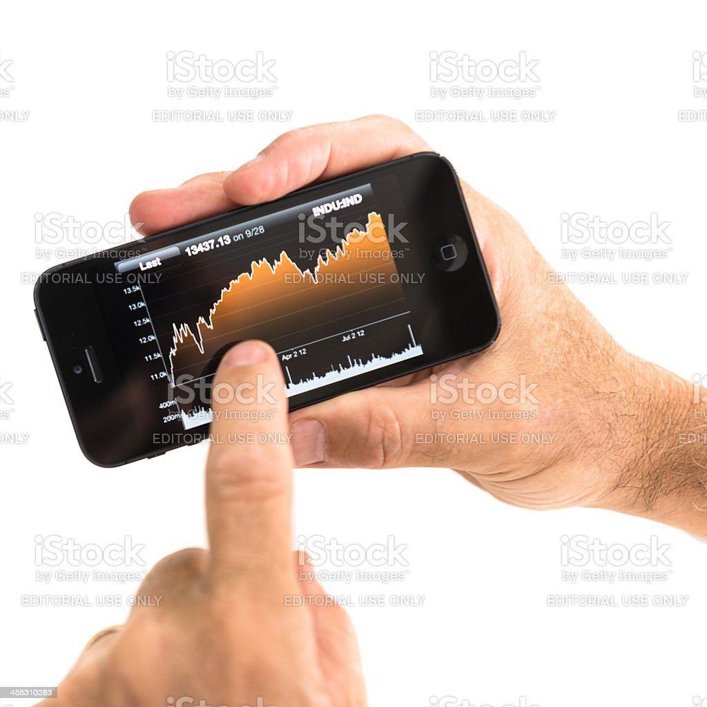 New Apple Iphone 5 with Bloomberg app royalty-free stock photo