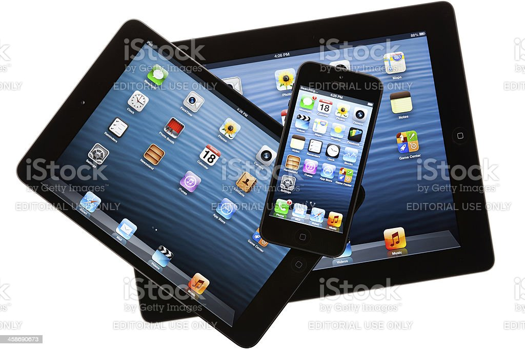 new apple iphone 5 with ipad 4 and mini royalty-free stock photo