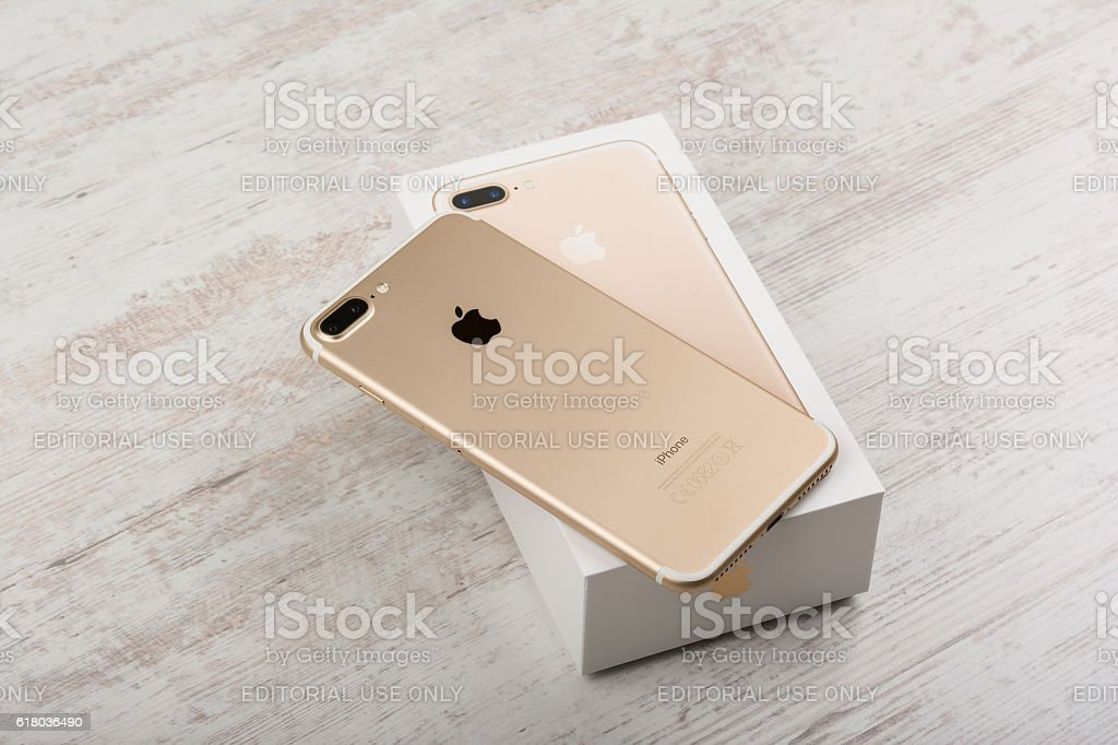 iphone 7 gold box. box - container, camera photographic equipment, glass material, internet. new apple iphone 7 plus gold iphone