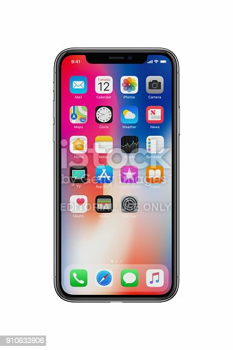istock New Apple iPhone X front view on white background 910633906
