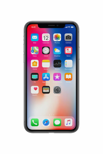 New Apple iPhone X front view on white background stock photo