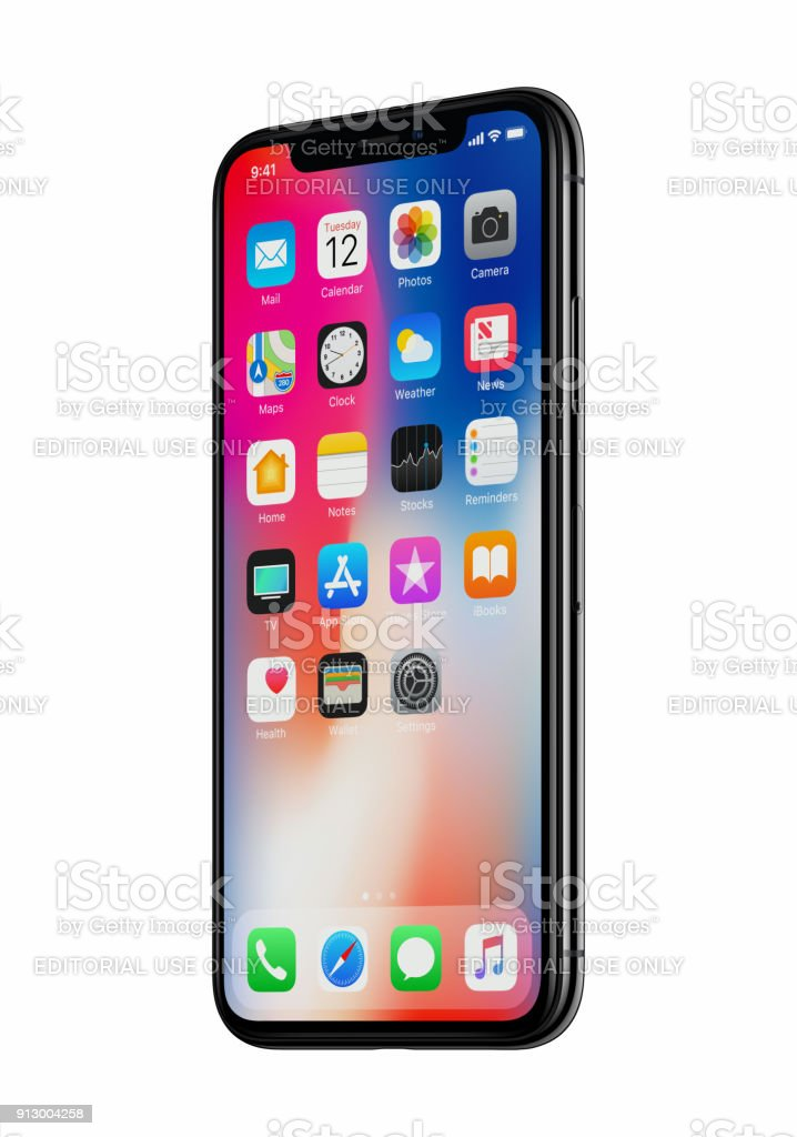 New Apple iPhone X front view slightly rotated isolated on white background stock photo
