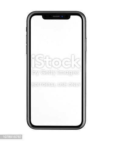 Istanbul, Turkey - December 5, 2018: New Apple iPhone XR front view on white background. High-quality studio shot.