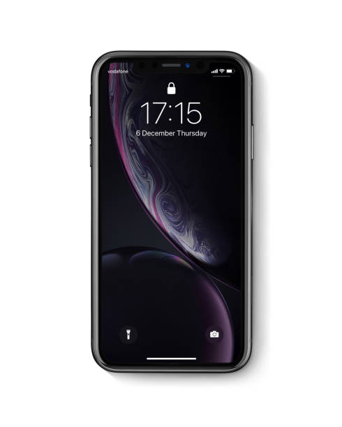New Apple iPhone Xr Black front view on white background stock photo