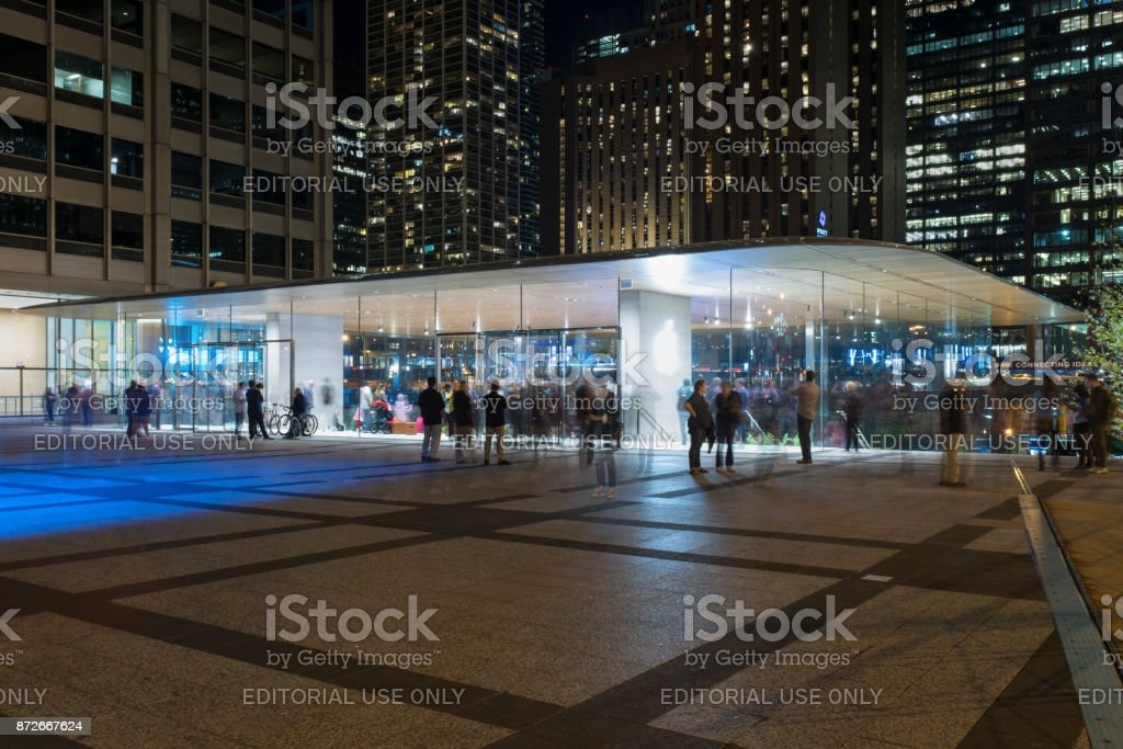 New Apple store in town stock photo