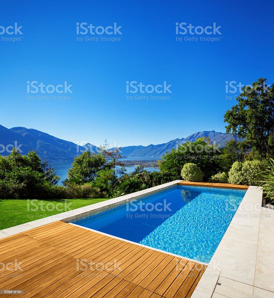New architecture, beautiful modern house stock photo