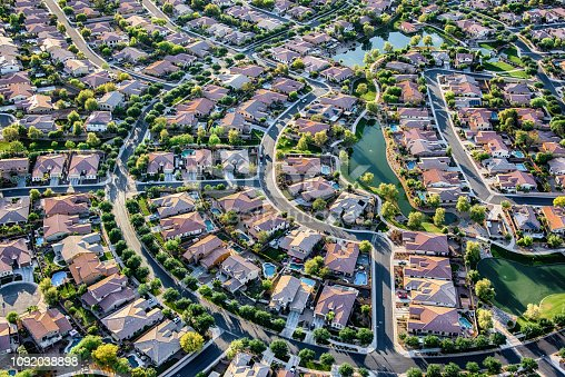 Aerial view looking directly down on a master planned exclusive residential community in the Scottsdale/Mesa area of Arizona just outside of Phoenix.