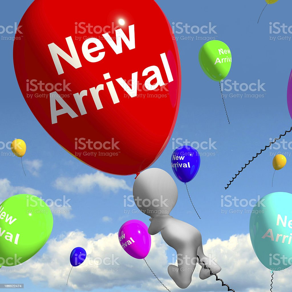 New Arrival Balloons Showing Latest Products Collection royalty-free stock photo
