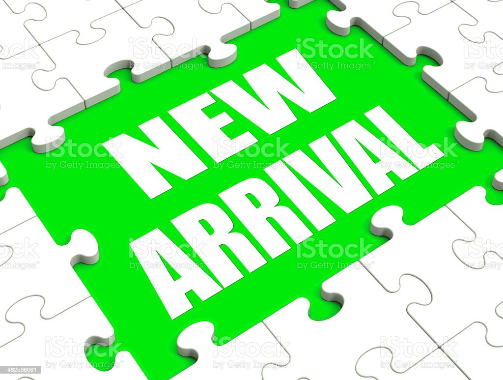 New Arrival Puzzle Shows Latest Products Announcement Arriving stock photo