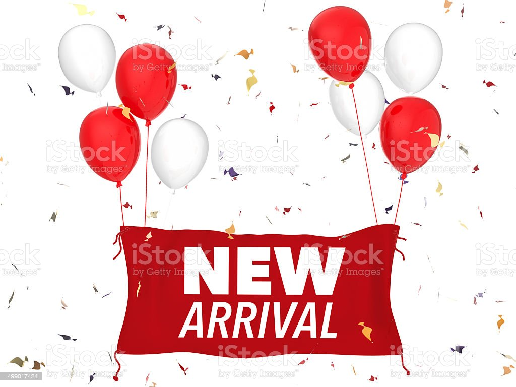 new arrival sign stock photo