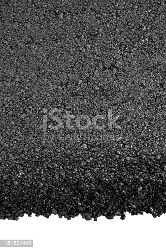 Photo of dark asphalted surface background isolated on white