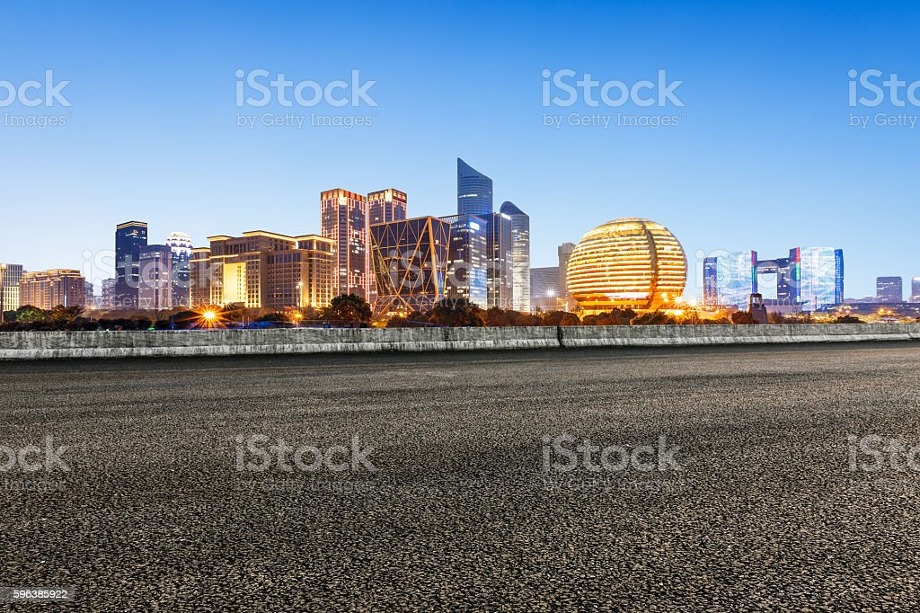 new asphalt road and the beautiful Cityscape in hangzhou stock photo