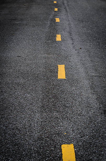 new asphalt texture with white dashed line - dotted line stock photos and pictures