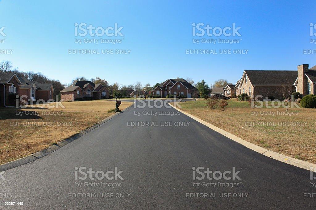 New asphalt topcoat on Quail Circle stock photo