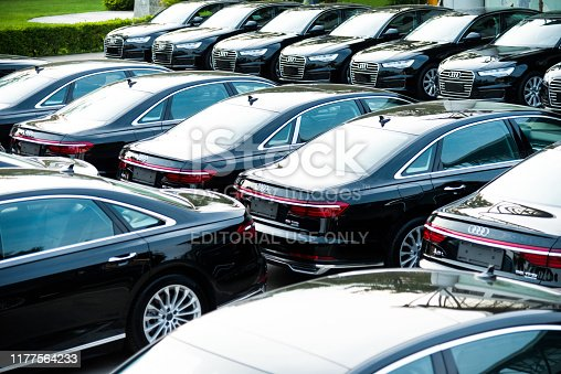 Fujian, China - September, 4th, 2018: The Audi A8 limousines stopped on the parking on the show. These vehicles are the ones of most luxury limousines in the world.