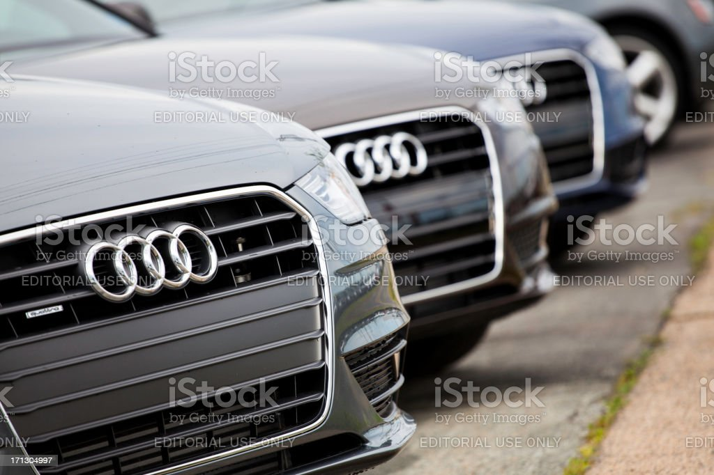 New Audi Vehicles in a Row stock photo