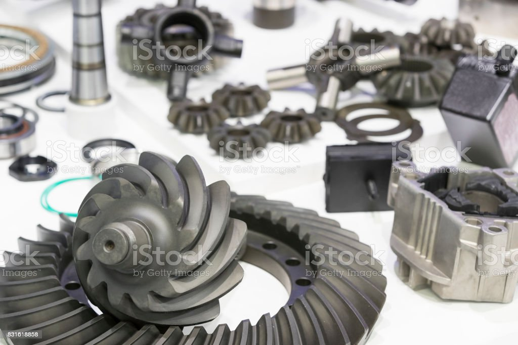 New auto parts for cars on a white background stock photo