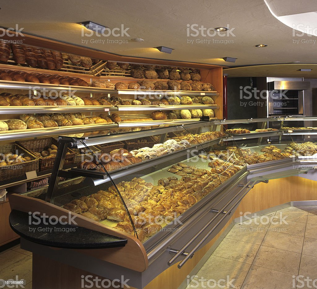 New bakery store indoor showing fresh baking goods stock photo