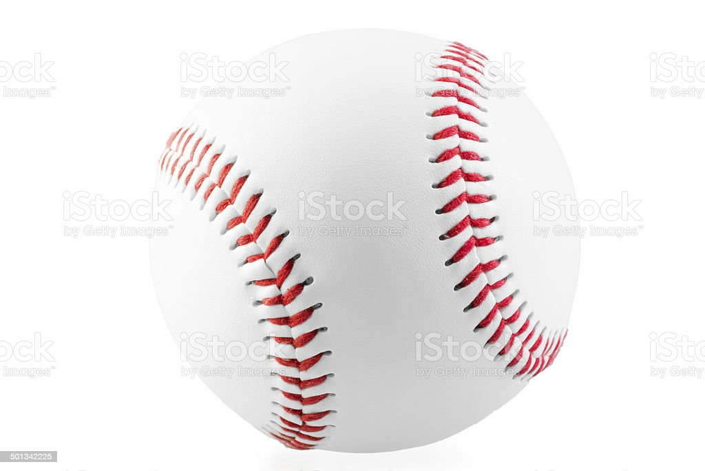 new ball for the game of baseball on white background stock photo