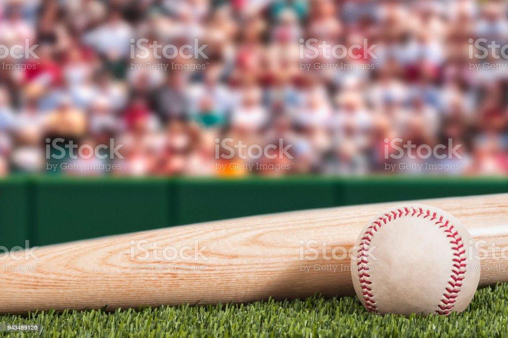 Eine neue Baseball und Schläger mit Stadion und Menge Hintergrund – Foto