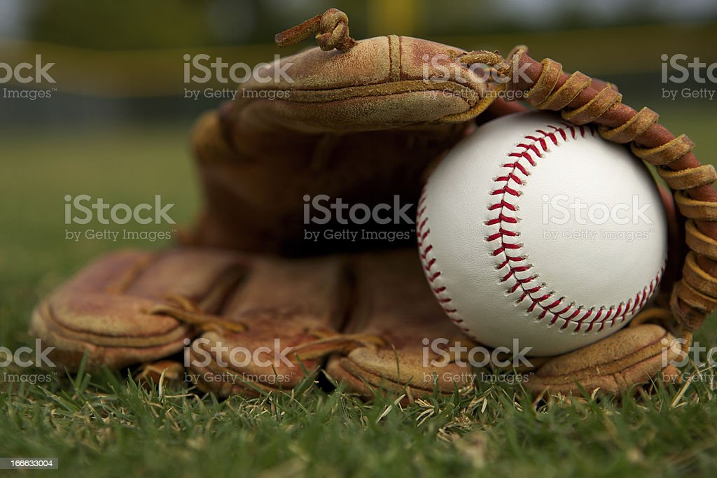 New Baseball in a Glove royalty-free stock photo