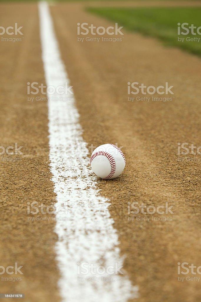New Baseball inside Third Base Foul Line stock photo
