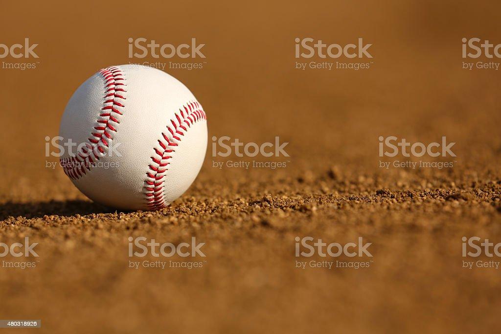New Baseball on the Infield Dirt stock photo