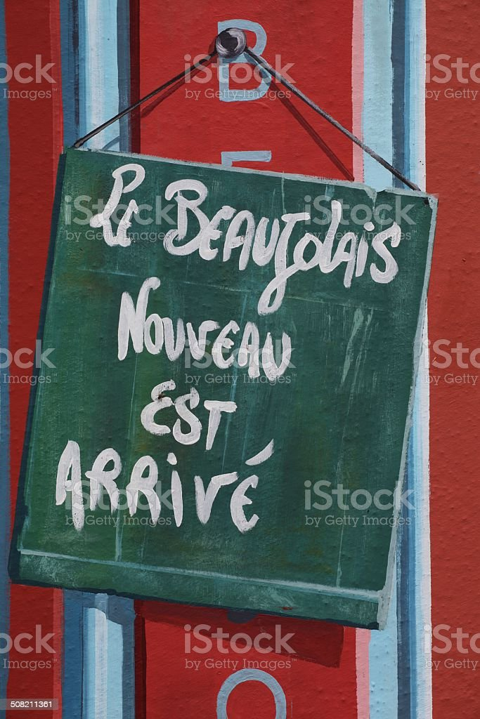 New Beaujolais wine is out stock photo