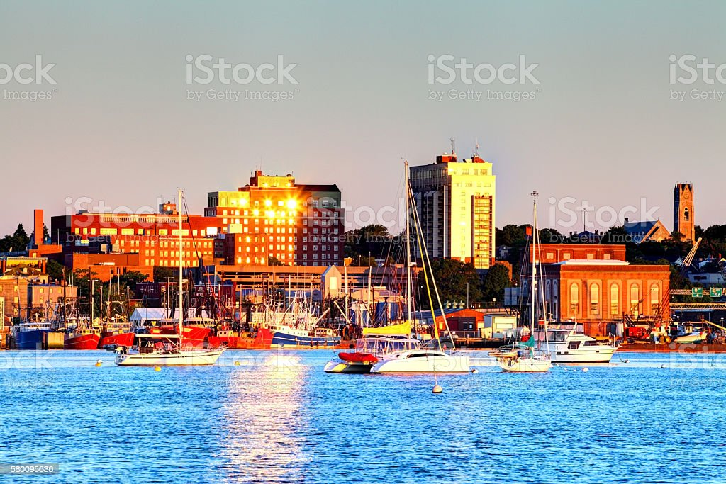 New Bedford harbor and downtown skyline stock photo