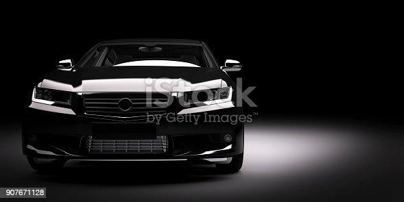 istock New black metallic sedan car in spotlight. Modern desing, brandless. 907671128