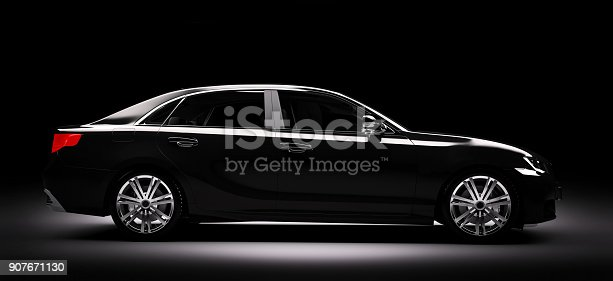 istock New black metallic sedan car in spotlight. Modern desing, brandless. 907671130