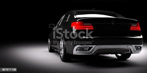 istock New black metallic sedan car in spotlight. Modern desing, brandless. 907671136