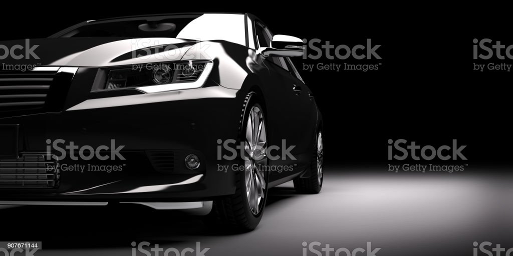 New black metallic sedan car in spotlight. Modern desing, brandless. Modern new black metallic sedan car in spotlight. Generic contemporary desing, brandless. 3D rendering. At The Edge Of Stock Photo