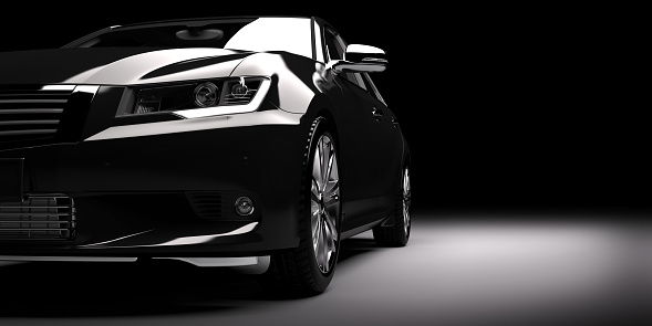 New Black Metallic Sedan Car In Spotlight Modern Desing Brandless Stock Photo - Download Image Now