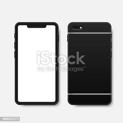 istock new black smartphone front and back isolated on white background 996545372