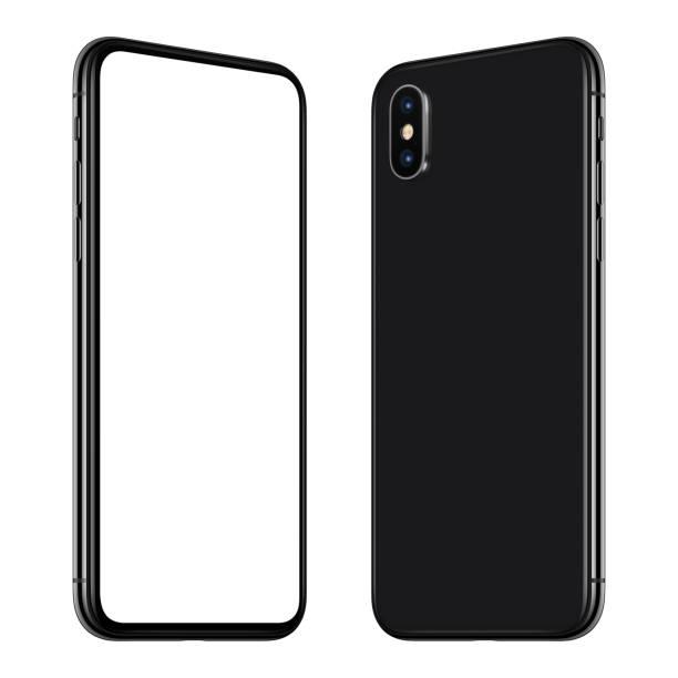 neue schwarze smartphone mockup vorder- und rückseiten gedreht und einander zugewandt - winkel stock-fotos und bilder