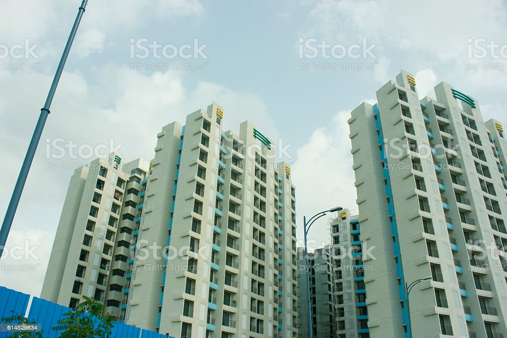 New block of modern apartments stock photo