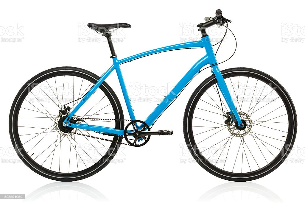 New blue bicycle isolated on a white stock photo