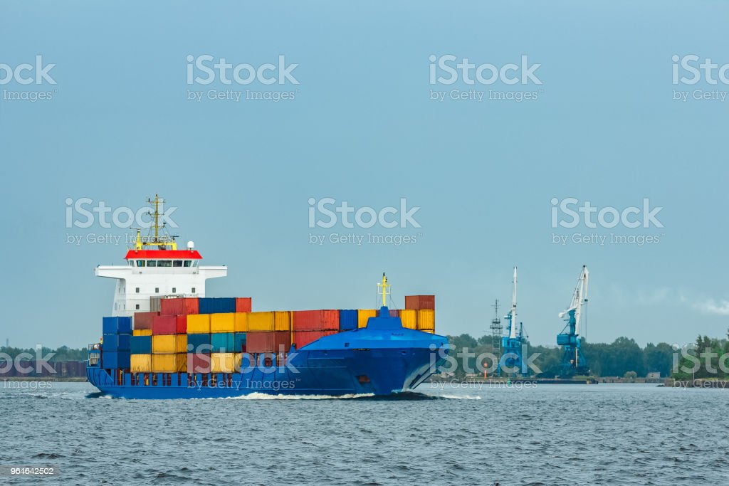 New blue container ship royalty-free stock photo
